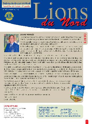 Revue Lions du Nord - n° 345 - Septembre 2014 - Lions Clubs du Nord de la France
