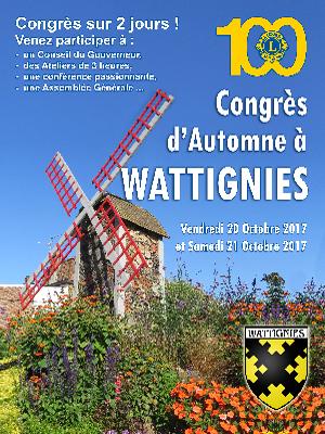Plaquette du Congrès d'Automne 2017 à WATTIGNIES - Lions Clubs du Nord de la France