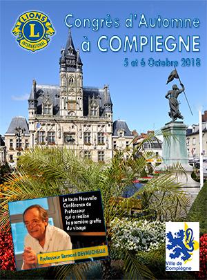 Plaquette du Congrès d'Automne 2018 à COMPIEGNE - Lions Clubs du Nord de la France